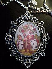 Alicia en el país de las maravillas tarjetas Rosas Antiguo Colgante De Plata Broche Collar Tenniel
