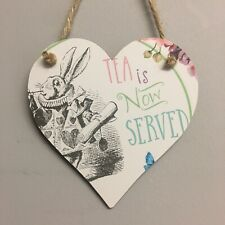 Alice In Wonderland Rabbit Wooden Hanging Heart Tea Party Decoration 12cm