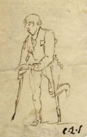 Charles Loraine-Smith, Beggarman with Crutches – Early 19th-century ink drawing