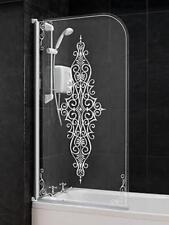 Wickes Damask White Patterned Half Frame Radius Bath Screen