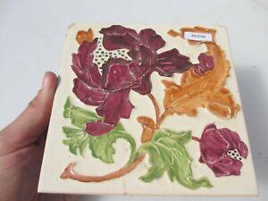Vintage Ceramic Tile Floral Flowers Leaf Art Nouveau Tulips Old
