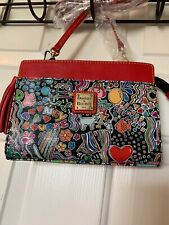 NWT Dooney & Bourke  Kenzie Crossbody Black Red Multi Color Leather C.nylon !!!