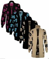 Women Skull Skeleton  Cardigan Ladies Open Front Knitted Halloween Cardigan