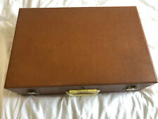Vintage Brexton 4 Person Picnic Set in Hard Tan Case. Used