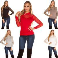 Maglia maglioncino pullover leggero donna maniche lunghe pizzo zip lato nuovo