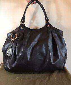 Gucci Large Dark Brown Leather Sukey GG Handbag Leather Hobo Shoulder Tote Bag