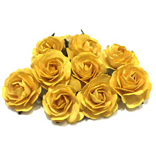 Yellow Heritage Mulberry Paper Roses Hr003 40mm
