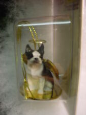BOSTON TERRIER dog ANGEL Ornament HAND PAINTED Resin FIGURINE Christmas puppy