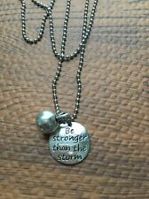 Be Stronger Than The Storm Charm Necklace Fitness Weightlifting Cross-Fit