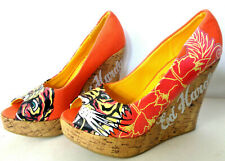 ED HARDY US 5 5.5M Tiger Face Peep Toe Wedge Heel Canvas Platform Pumps Shoes