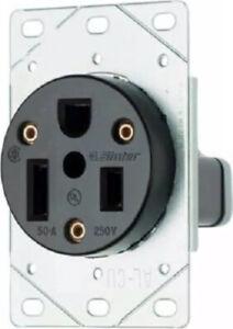 Pass & Seymour 50A, 250V, Black, 2 P 3 Wire , Flush Mount Power Outlet 3804CC6