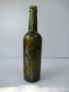 """Antique Gwalior Princely State Liquor Bottle Gwalior Coat Of Arms Embossed Gla""""1"""