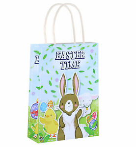 6 Easter Bags With Handles - Luxury Party Treat Sweet Loot Lunch Gift Egg Hunt