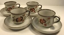 4 Coffee Tea Cups & Saucers Denby-Langley Serenade Stoneware Hand Painted 19626