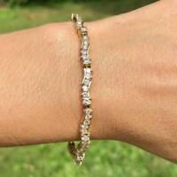 4.20 Ct Round Cut VVS1 Diamond Fancy Tennis Bracelet For Women's 14K White Gold