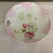 ANTIQUE HANDLED PLATE WITH HAND PAINTED ROSES AND GOLD TRIM  - GERMANY