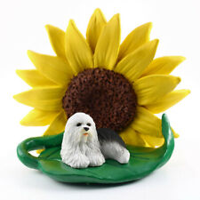 Old English Sheepdog Sunflower Figurine