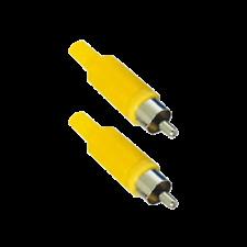 2 Fiches RCA Mâle couleur Jaune Connections à Souder