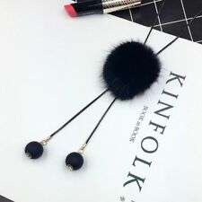 Fashion Elegant Winter Long Jersey Sweater Chain Fur Pompom Pendant Necklace Black