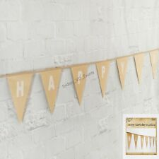 HAPPY BIRTHDAY BUNTING BROWN PAPER PARTY HANGING DECORATION BANNER FLAG PENNANT