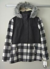 Celebrity Pink Juniors Plaid Wool Coat With Hood, Shadow Gray, Sz L NWT