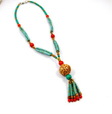 Turquoise & Coral Gold Plated Handmade Necklace Jewelry JC10923