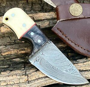 """4.5"""" HAND FORGED DAMASCUS Steel Mini Neck Skinner Knife """" Bone & Horn Handle"""""""