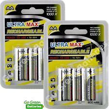 8 x Ultra Max AA Rechargeable Batteries 800 mAh NiMH HR6 LR6 ACCU phone
