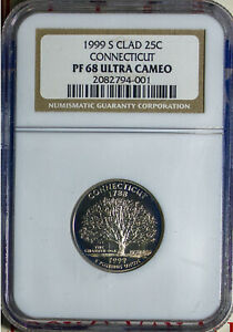 1999-S 25C Connecticut State Quarter PF68DCAM NGC 2082794-001 + Bonus
