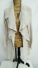 NIC & ZOE POP OPEN WOVEN KNIT SWEATER WRAP DRAPE CARDIGAN SMALL BEIGE NEW! $188