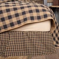 BLACK CHECK Queen Bed Skirt Dust Ruffle Primitive Tan Khaki Country Farmhouse