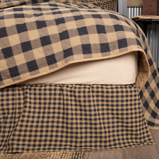 Black Check Queen Bed Skirt Dust Ruffle Primitive Tan Khaki Country Farmhouse
