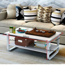 Rectangular Coffee Table Rectangle Modern Legs 2 Tiers End table Furniture 100cm