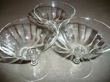 Vintage Set of 3 Low Champagne Sherbet Clear Stemware Glasses Optic Lines