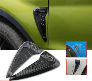 2Pcs Car Side Wing Air Flow Fender Grill Intake Vent Trim 3D Carbon Fiber Look