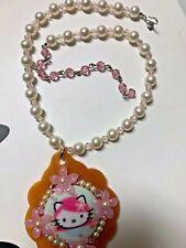 Tarina Tarantino glass pearl & crystal bead necklace cherry blossom Hello Kitty