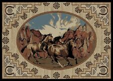 Great Escape Area Rug Runner Lodge Cabin Wild Horses Stallions Beige Desert
