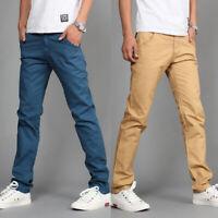 8 Color Men's Casual Long Pencil Pants Straight Leg Trousers Solid Slim Fit