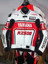 YAMAHA MEN MOTORBIKE LEATHER RACING JACKET RED & WHITE SIZES S,M,L,XL,2XL,3XL