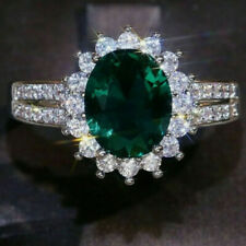 14K White Gold Over 3.40Ct Oval Cut Emerald & Diamond Cluster Engagement Ring