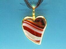Organzakette, Herz, Achat, 24 Karat vergoldet, Goldrand, braun-beige-weiss, edel