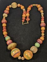 Vintage Wood Nut Seed Pod Pink Blue Bead Necklace 11586