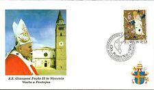 617- FDC VATICAN VISITE PAPE JEAN PAUL II   EN  SLOVENIE