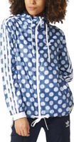 adidas Originals Women's Hooded Spotted Sporty Windbreaker Jacket Blue & White