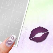 Schablonen für Airbrush und Nailart L041 NAILART Liebe Kuss Mund Lippen 80x kleb