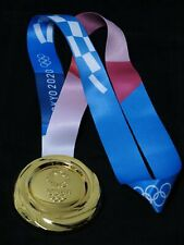 Tokyo 2020 Olympic Replica 'GOLD' Medal with Silk Ribbons 1:1 SIZE