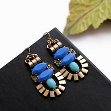 Costume Fashion Earrings Gold Blue Turquoise Chandelier Ethnic Retro Pendant B2
