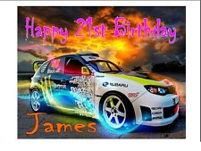 "PERSONALISED SUBARU RACING CAR BIRTHDAY CAKE TOPPER A4 ICING SHEET 10""x8"" IMAGE"