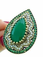 STERLING 925 SILVER SIZE 8.5 GREEN EMERALD RING TURKISH HANDMADE JEWELRY R2261