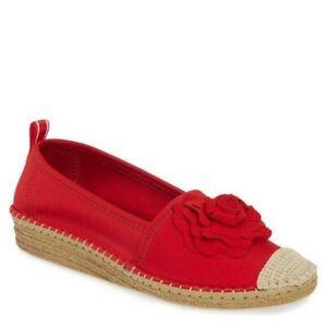 Taryn Rose Women Quincy Shiny Scuba Espadrilles Comfort Shoe Sangria Red 6 NEW